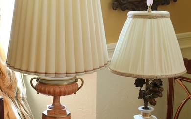 Two European Porcelain Vessels, Drilled and Mounted as Lamps PK1A