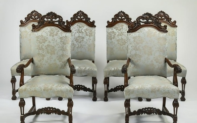 (6) Baroque style upholstered dining chairs