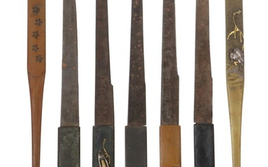 (7) JAPANESE MIXED METAL KNIVES FROM SWORD SHEATHS