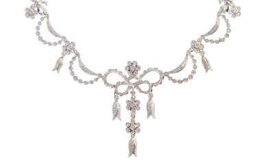 A 14 Karat White Gold and Diamond Festoon Necklace,