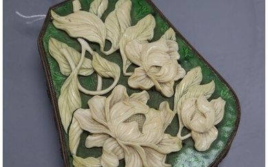 A 19th century Chinese ivory, brass and green enamel box, le...
