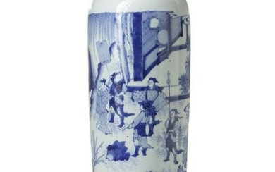 A BLUE AND WHITE SLEEVE VASE, CHINA,Qing Dynasty