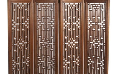 A CHINESE ELM FOUR PANEL SCREEN QING DYNASTY (1644-1912), CIRCA 19TH CENTURY