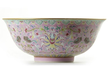 A CHINESE PINK-GROUND FAMILLE ROSE BOWL, CHINA, QING
