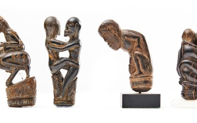 A COLLECTION OF FOUR INDONESIAN FIGURAL CARVED HORN HANDLES CIRCA 19TH CENTURY