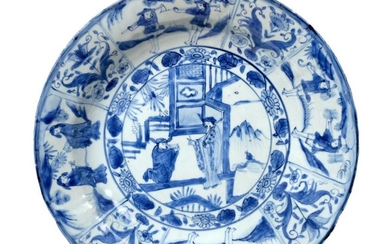 A Chinese Kraak Porcelain Charger, 17th century, painted in underglaze...