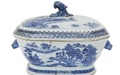 A Chinese porcelain tureen and cover, late...
