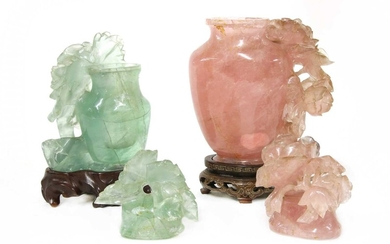 A Chinese rose quartz vase and cover