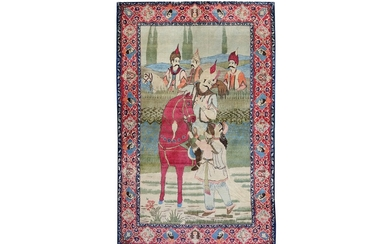 A FINE KASHAN PICTORIAL RUG, CENTRAL PERSIA