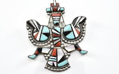 A GEOMETRIC INLAY KNIFEWING JEWELLERY SUITE IN STERLING SILVER SET WITH MOTHER OF PEARL, PENN SHELL, CORAL AND TURQUOISE BY HERBERT...