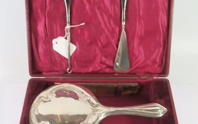 A George V Cased Silver Backed Mirror, Brush and Comb Set, B...