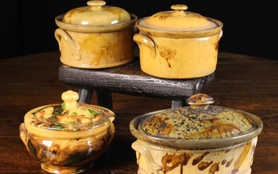 A Group of Four 19th Century French Lidded Casseroles pots from the Limousin Region with decorative