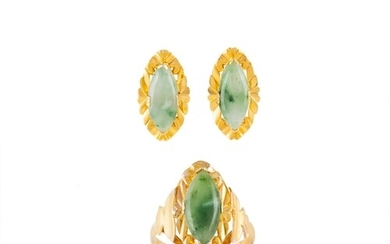 A JADE RING, mounted in 18ct yellow gold, together with a pa...