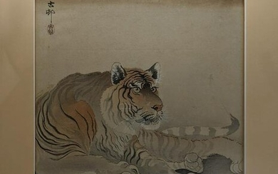 A Japanese woodblock print of a tiger, signed upper
