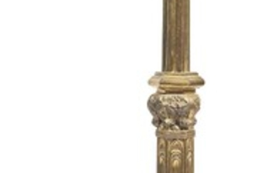 A LARGE GILT METAL GOTHIC REVIVAL CANDLESTICK