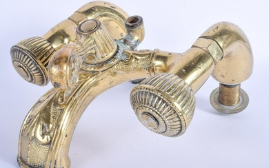 A LARGE VINTAGE PAIR OF BRASS TAPS probably Edwardian.
