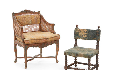 A Louis XV Painted and Caned Bergere and a Baroque Style Tapestry Upholstered Petit Chair