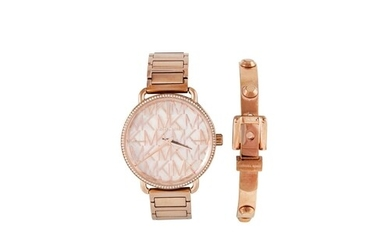A MICHAEL KORS BRACELET WATCH, together with a bangle, in po...