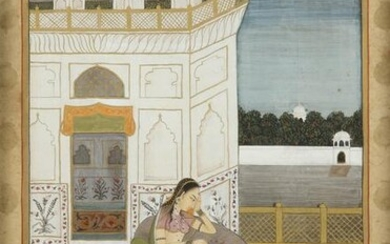 A MINIATURE DEPICTING A MUGHAL LADY, INDIA, 19TH