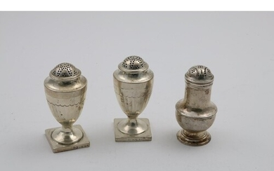 A PAIR OF GEORGE III VASE-SHAPED PEPPER CASTERS on square pe...