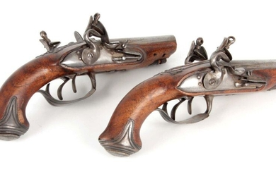 A PAIR OF LATE 18TH CENTURY FRENCH DOUBLE BARREL FLINTLOCK...