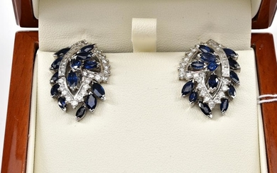 A PAIR OF SAPPHIRE AND DIAMOND CLIP ON EARRINGS IN 14CT GOLD