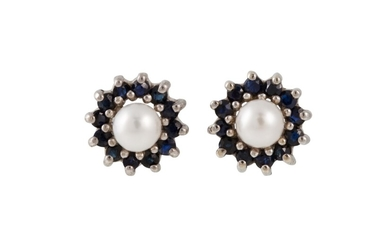 A PAIR OF SAPPHIRE AND PEARL CLUSTER EARRINGS, mounted in wh...