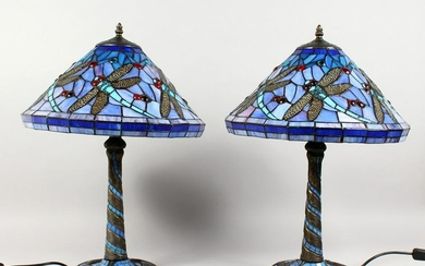 A PAIR OF TIFFANY STYLE DRAGONFLY TABLE LAMPS. 23ins