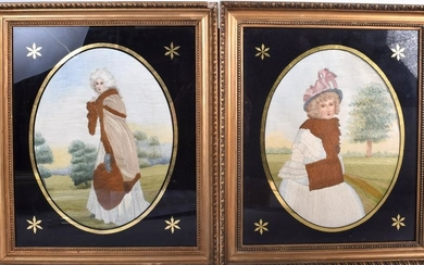 A PAIR OF VICTORIAN WOOLWORK PICTURES, depicting