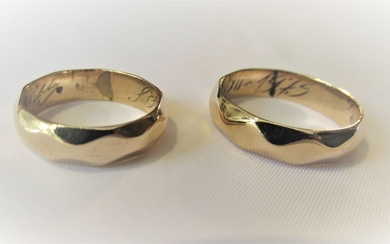 A Pair of 14K Gold Wedding Rings The Large...