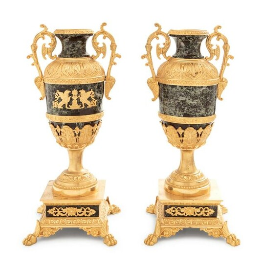 A Pair of Empire Style Gilt Bronze Mounted Verde Antico