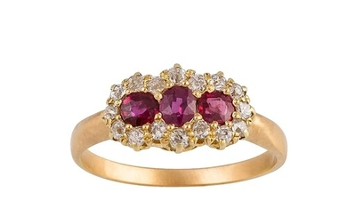 A RUBY AND DIAMOND TRIPLE CLUSTER RING, set with old cut dia...