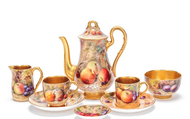 A Royal Worcester 'painted fruit' composite coffee set, dated 1921-22 and 1934-35