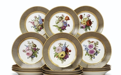 A SET OF FIFTEEN SEVRES PORCELAIN 'BEAU BLEU' DESSERT PLATES FROM A SERVICE GIVEN BY CHARLES X TO SIR THOMAS LAWRENCE, CIRCA 1823-25, MOST WITH BLUE STENCILED INTERLACED L'S OR C'S ENCLOSING A FLEUR-DE-LYS, THREE WITH INTERLACED C'S ENCLOSING AN X...