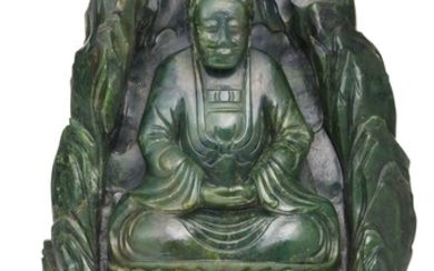 A SPINACH-GREEN JADE 'BUDDHA IN A GROTTO' GROUP, LATE QING DYNASTY | 晚清 碧玉坐佛山子