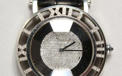 A VERY GOOD 18CT WHITE GOLD AND DIAMOND WRISTWATCH BY