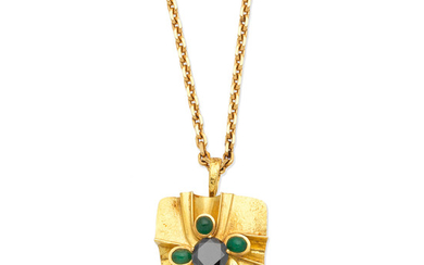 A black diamond and emerald pendant, by Wolfers, and a longchain necklace