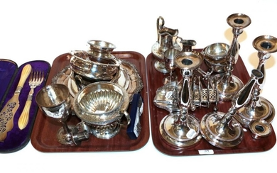 A collection of assorted silver-plate, including: a set of four...