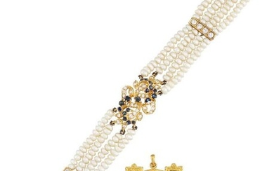 A diamond and sapphire cultured pearl bracelet...