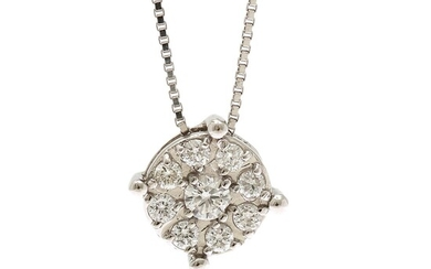 A diamond pendant set with nine brilliant-cut diamonds totalling app. 0.15 ct., mounted in 18k white gold. Necklace of 18k white gold. L. app. 42.5 cm. (2)