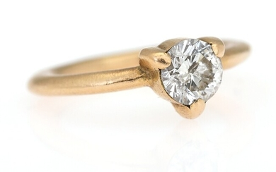 A diamond ring set with a brilliant-cut diamond weighing app. 1.00 ct., mounted in 14k...
