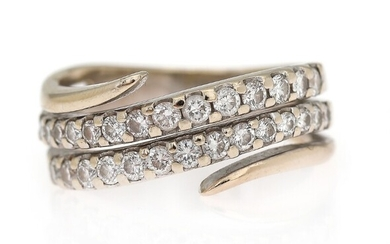 A diamond ring set with numerous brilliant-cut diamonds, mounted in 18k rhodium plated gold Size...