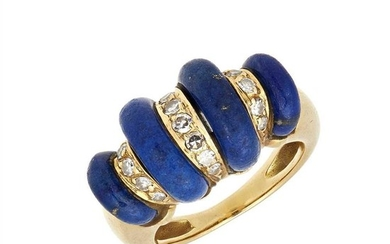 A lapis lazuli and diamond set ring