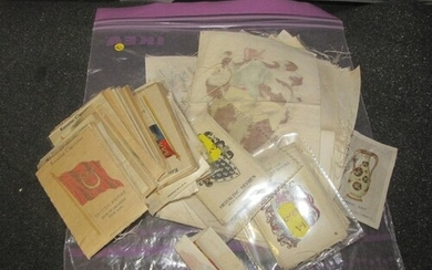 A large collection of WW2 cigarette card silks