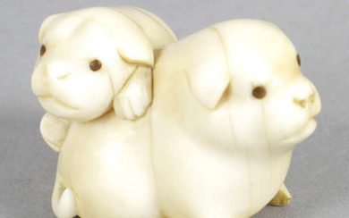 A late 19th century carved ivory netsuke modelled as two lapdogs.