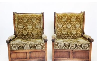 A pair of 17th century style lambing chairs, mid 20th centur...