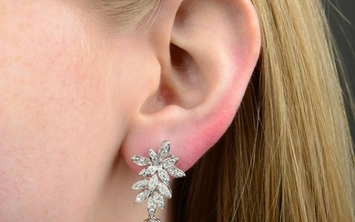 A pair of Baroque cultured pearl and brilliant-cut