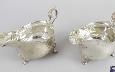 A pair of Edwardian silver sauce boats.