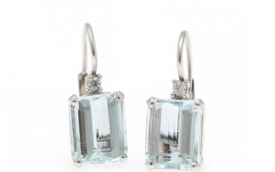 A pair of aquamarine and diamond ear pendants each set with an emerald-cut aquamarine and a diamond, mounted in 18k white gold. (2)