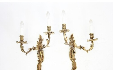 A pair of early 20th century French gilt metal two branch wa...